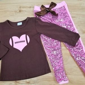 Brown and pink football sequins